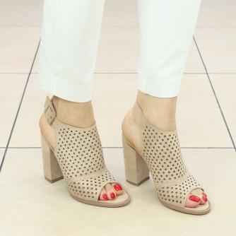 Sandale Dama cu Toc Roli Bej